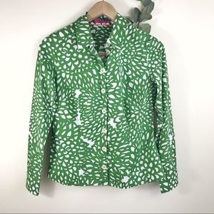 Boden Green Floral Button Down Collared Blouse